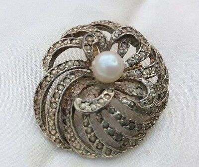 vintage brooch. Marcasite, With Central Pearl Bead