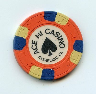 Chip from the Ace Hi Casino in Clearlake California Orange
