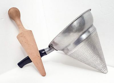 Vintage Wear-Ever Cone Strainer Tacuco Aluminum No. 475 Sieve with Wood Pestle