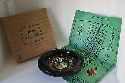 Vintage old French roulette game toy set with original box rules & directions
