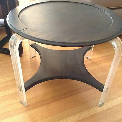 Art Deco Lucite and Wood 2 tiered table / Grosfeld House att. / as found