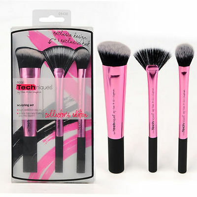 Hot New Pink Real Techniques Makeup Brushes Core Collection Set 3Kit