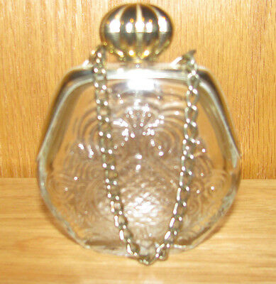 Vintage U.s.a. Decorative Silver Decor Glass Perfume Bottle With Chain