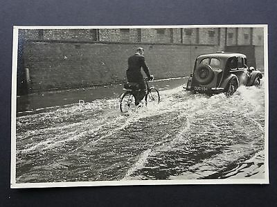 Birmingham FLOODS of 1947 Perry Barr to Witton shows CYCLIST & CAR RP Postcard