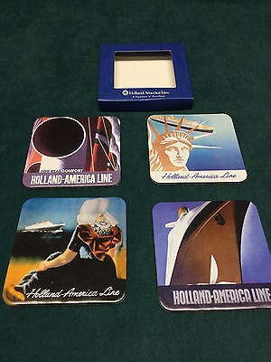 Holland America Cruise Line Decorator Cork Back Coasters New in Box 4 Different