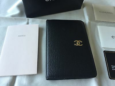 Authentic Chanel Black Leather Address Phone Book - Box & Authenticity Card