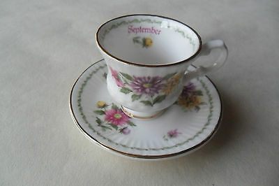Boxed Flower Of The Month September Queens China Mini Cup & Saucer