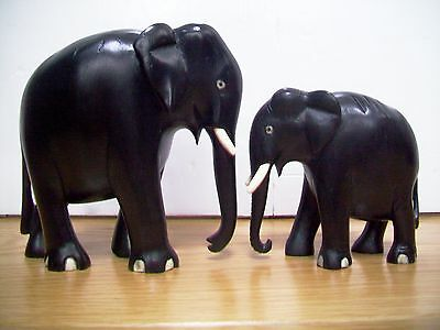 Antique  Victorian Ebony Hand Carved Wooden Elephants-Cow  With Calf