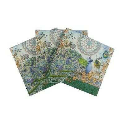 Punch Studio Royal Peacock Disposable Napkins-Cocktail