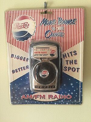 NIB Vintage Pepsi-Cola AM/FM Radio by PF Products More Bounce To The Ounce! RARE