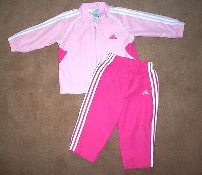 Pink ADIDAS tracksuit set TROUSERS & TOP/ light JACKET 9-12 months