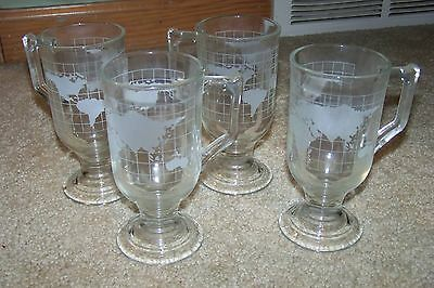 4 NESCAFE World Globe Pedestal Mugs Clear Glass Coffee Tea Cup Footed 5.5""
