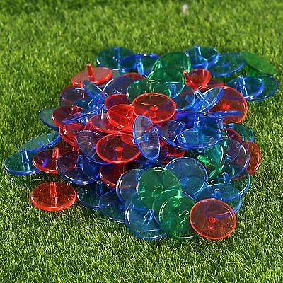 New 100Pcs Plastic Mixed Colour Plastic Transparent Golf Ball Markers Round 24mm