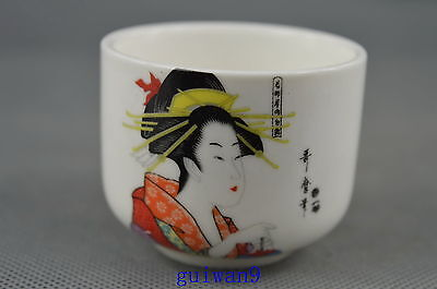 Collectible Porcelain Painting Classical Belle Lucky Unique Useable Royal Cup