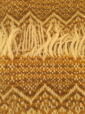 Vintage AMANA Earthy Gold Brown Wool Woven Stadium Couch Lap Throw Blanket Cover