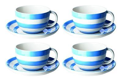 4 x T.G.GREEN Cornishware Cappuccino Cups and Saucers Cornish Blue