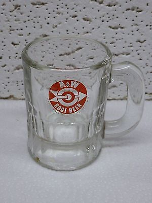 Vintage Small Baby A&W Root Beer Drive-in Soda  Mug/ Glass Orange Label