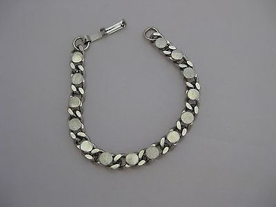 """Estate Costume Link with Textured Circles Bracelet 7"""" Silver Tone"""