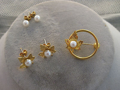 Estate Costume Pearl Earring and Pin Set 2 Pairs Pearl Earrings 1 Pin Dainty