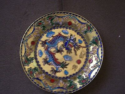 Chinese Enamel Plate w/ Flowers and Dragon