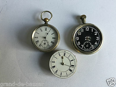 Vintage 3 x joblot of pocket watch / movements for spares