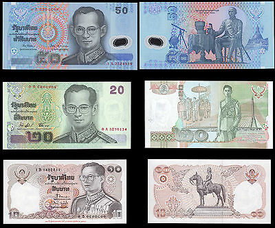 Thailand 10 20 & 50 Baht Banknote Set of 3 Rama IX Paper and Plastic