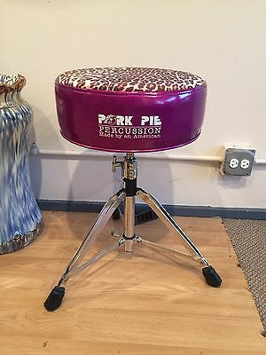 Pork Pie drum throne Purple Sparkle W/ Leopard Skin Top