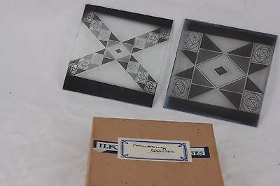 TWO glass MAGIC LANTERN focussing test slides, different images