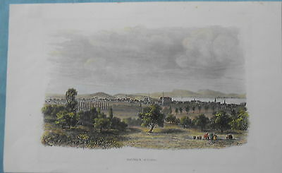 Antique Print Montreal Canada Hand Coloured Steel Engraved Plate C1860