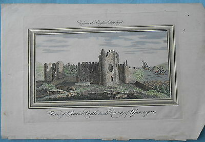 Penrice Castle Glamorgan Gower 1765-1770 From Buck Copper Plate Hand Cloured