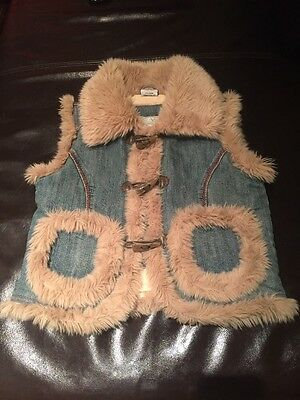 Next Girls Jeans Gilet With Faux Fur 7-8 years