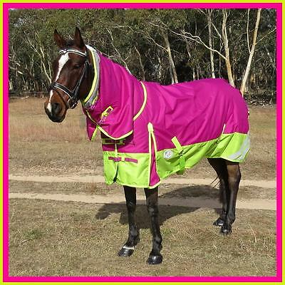 LOVE MY HORSE 600D 300g 5'0 - 6'9 Reflective Winter Combo W'proof Rug Pink /Lime