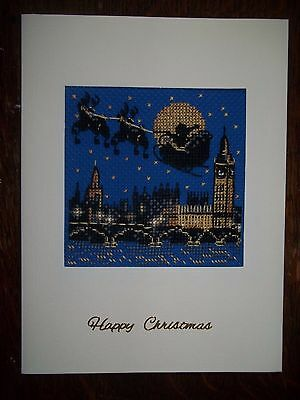 completed cross stitch card Christmas London scene