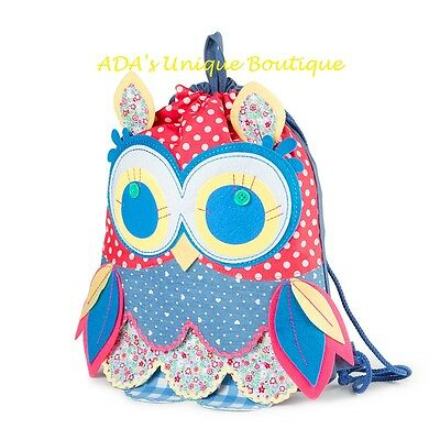 Claire's Club Patchwork Owl Drawstring Backpack Polka Dot Flowers Bag Bookbag