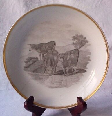 Early C19Th Bat Printed Dish Decorated With Cattle  A/f