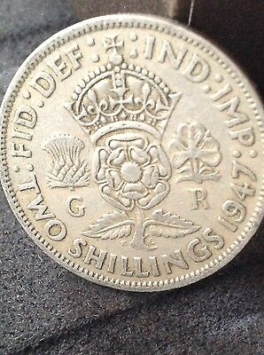 1947 George 6th Florin, 2/- coin. Free uk p&p