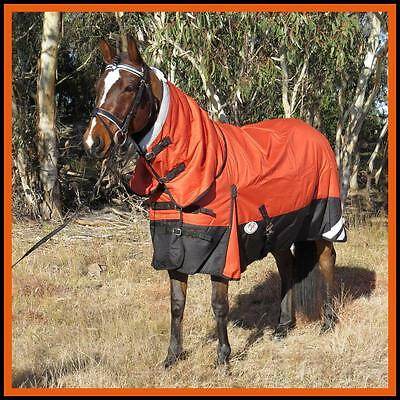 LOVE MY HORSE RUG 1200D 180g 5'3 - 6'6 Waterproof Ripstop Winter Combo Orange