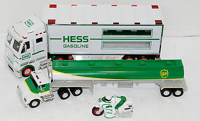 Lot Of 2 Vintage Hess Trucks And Motorcycle