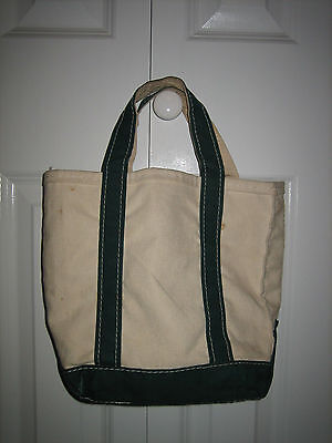 LL Bean Boat And Tote Heavy Canvas Bag SMALL Size, CREAM and GREEN