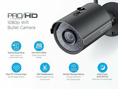 Amcrest ProHD Outdoor 1080P WiFi Wireless IP Security Bullet Camera IP2M-842 BLK