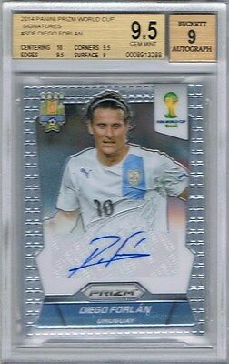 2014 Panini Prizm World Cup Signatures #S-DF Diego Forlan BGS 9.5 Gem Mint