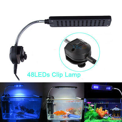 48 LED Aquarium Fish Plant 2 Mode Clip White&Blue Light Bulb Lamp Adjustable US