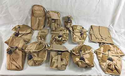 Job lot of British army surplus desert camouflage webbing pouches