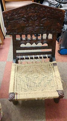 Unique Beautifully Folding Carved Wooden Chair With Weaved Seat - Unknown Origin