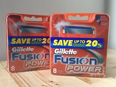 Gillette Fusion Power Blades Pack Of 8 Genuine Australian Brand New & Sealed