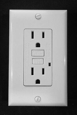 GFCI GFI Safety Outlet Receptacle w/ Wallplate - White, UL2008, 10 Pack