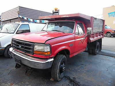 1997 Ford F350 4X4 Dump Truck 7.5 Gas Powered Snow Plow 88K Miles No Reserve