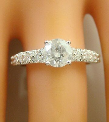 1.04 ct solitaire real diamond engagement  ring 18k  white gold wedding rings
