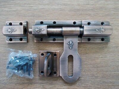 Vintage slide latch bolt door hasp Cast iron long handle  large double lock tool