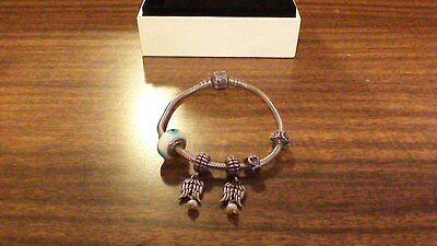 sterling silver pandora bracelet with 5 charms silver and pearls